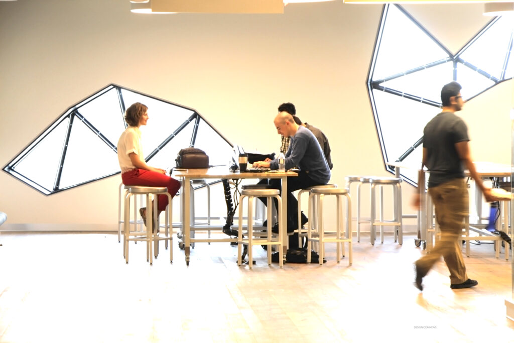 Students sitting at a table in the Bergeron Centre