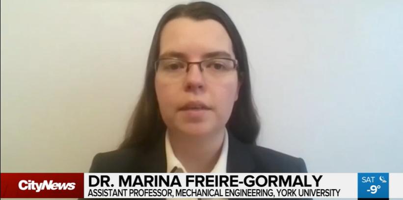 Screenshot of Marina Freire-Gormaly on CityNews