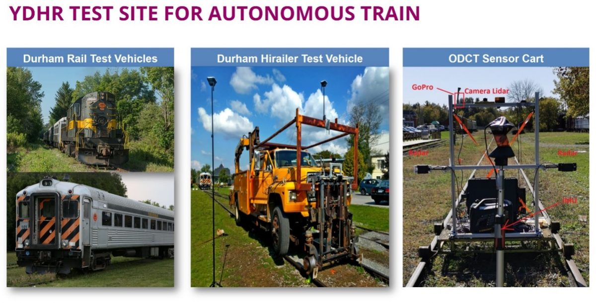 Images of the 16.7 km section of rail on York-Durham Heritage Railway (YDHR) in Durham where Prof. Sohn, his team and Thales are testing their Obstacle Detection, Classification and Tracking (ODCT) perception functions via a custom sensor cart.