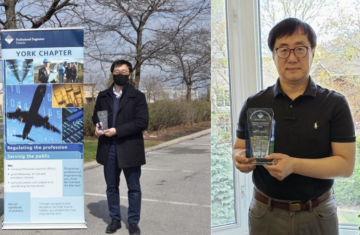 Professor Sohn receiving his award outside the PEO York Chapter (left) and inside his home (right)