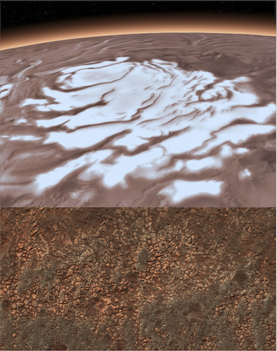 image of Mars with ice