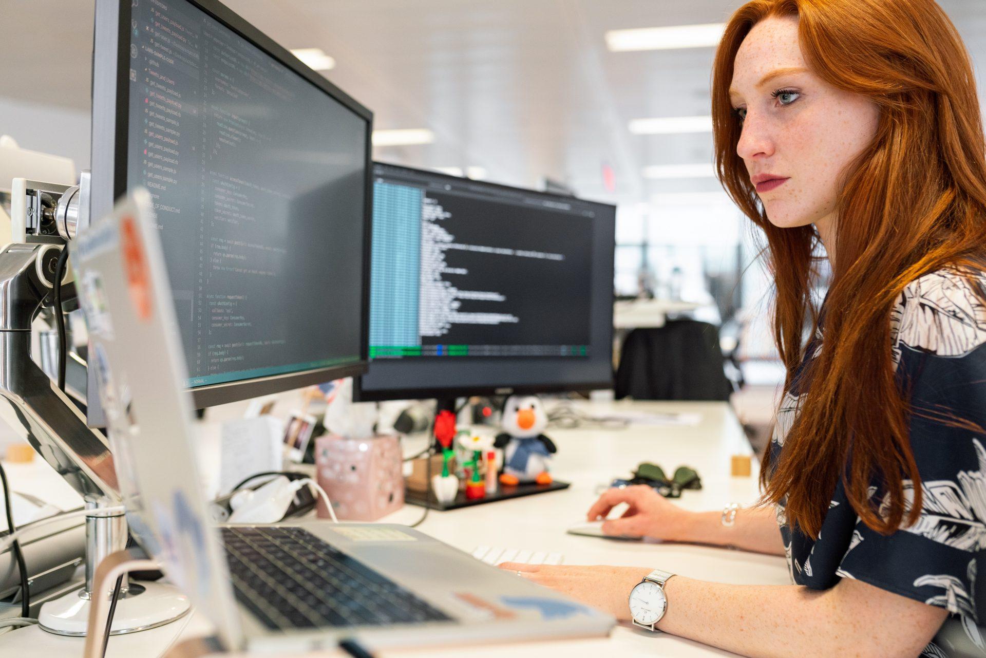Woman looking at a computer